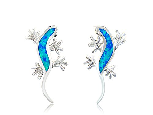 925 Sterling Silver Hawaiian Blue Opal Lucky Lizard Gecko Stud Earrings Set ()