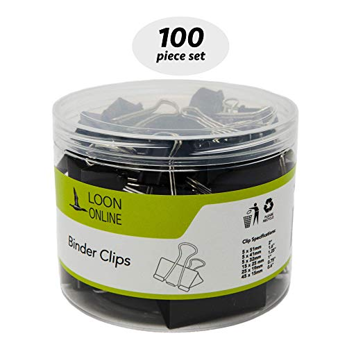 Loon Online Binder Paper Clips, Assorted Sizes (Black, 100 Per Box)