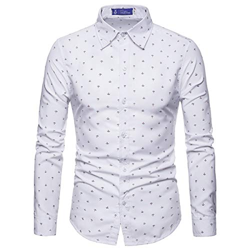 Men's Shirts Button Down Long Sleeve Anchor Pattern Casual Slim Fit -