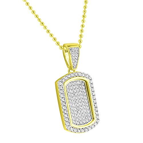 Pendant Dog Tag Combo (Mini Dog Tag Pendant Gold Tone Sterling 925 Silver Lab Diamonds Pave Set Necklace Combo)