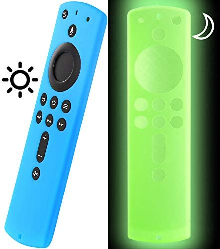 Cover for Fire Stick Remote Glow in The Dark, Firestick Cover Compatible with second Generation 4K Amazon Fire Stick Alexa Remote, Firestickremote TV Remote Cover Blue