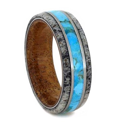 Turquoise, Deer Antler, Mesquite Wood Sleeve 7mm Comfort-Fit Brushed Titanium Wedding Band, Size 8 by The Men's Jewelry Store (Unisex Jewelry)