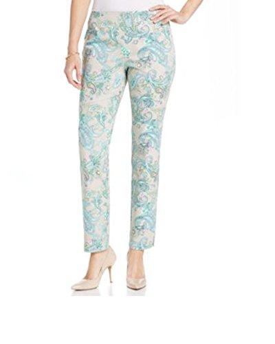 Charter Club Side-Zip Sateen Paisley-Print Pants, Sand Combo, Size 14