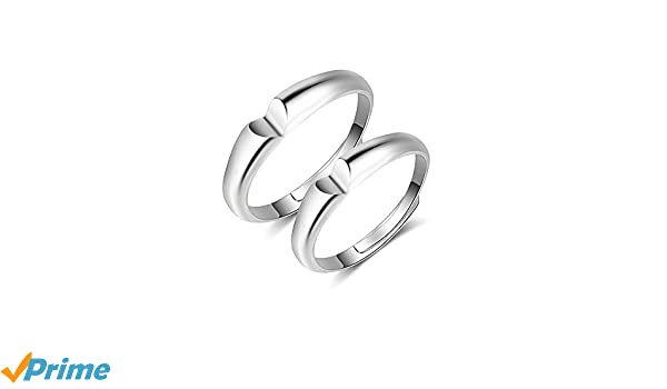 Women/'s Adjustable Solid 925 sterling silver double hearts ring Gift for her