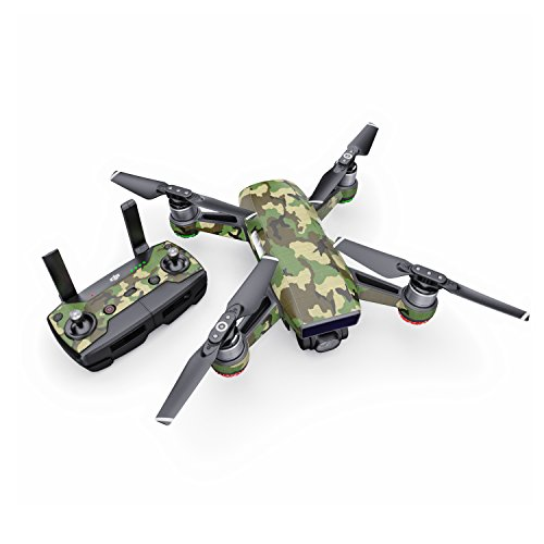 Woodland Camo Decal for Drone DJI Spark Kit - Includes Drone Skin, Controller Skin and 1 Battery Skin