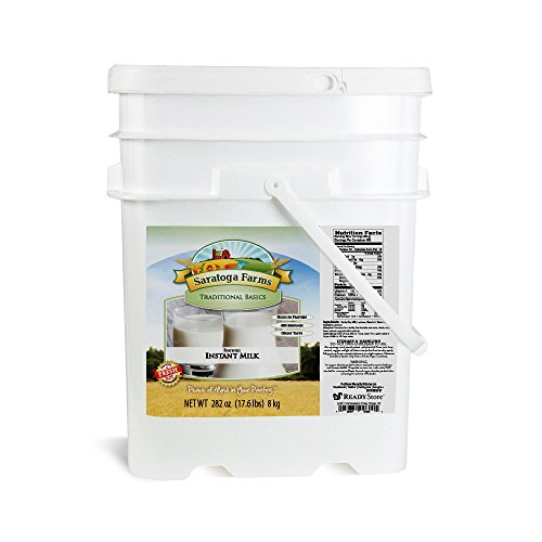 Saratoga Farms Fortified Instant Milk Value Bucket, 5.3-Gallon Stackable Bucket, 17.6lbs (8kg), 400 Total Servings of Instant Powdered Milk, Dehydrated, Emergency Food Storage, Cooking, Every Day Use