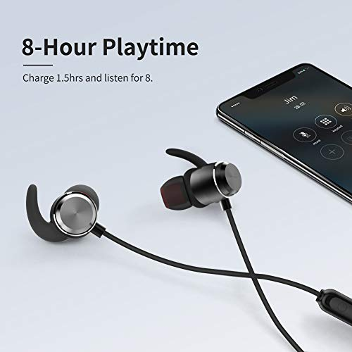 Cdrival Bluetooth Neckband Headphones, IPX5 Waterproof Sports Earphone, Bluetooth V5.0 in-Ear Stereo Wireless Headset for Running, Gym, Workout, Travel, Magnetic Connector& Built-in Mic - Black