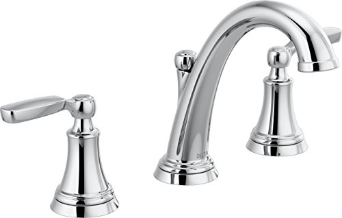 - Delta Woodhurst 2-Handle Widespread Bathroom Faucet with Metal Drain Assembly, Chrome (3532LF-MPU)