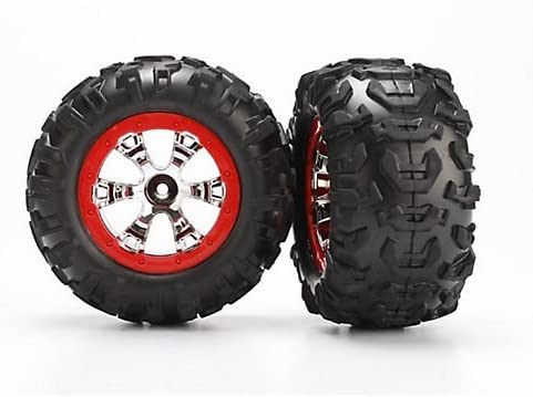 Traxxas 7272 Canyon AT Tire on Chrome Geode Wheel Red Bead Protector, 1/16 Summit [並行輸入品]