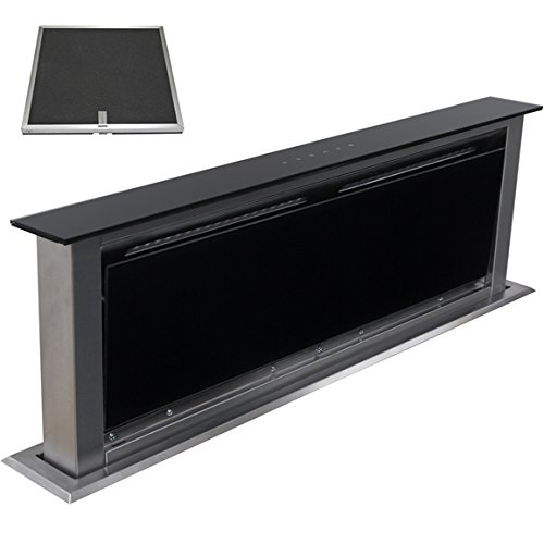 SIA 90cm Touch Control Downdraft Black Cooker Hood Extractor + Charcoal...