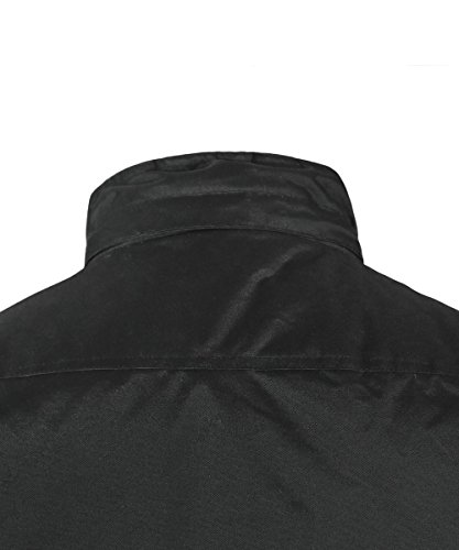 HARD LAND Mens Waterproof Down Parka Jacket Heavy Winter Coat Snowboard Jacket With Removable Hood Black Size XXXL by HARD LAND (Image #3)
