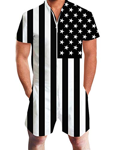 Men's Romper Suits 3D Printed White Black American Flag US Funny Stripe Graphics Patriots Short Sleeve Pants Zip Up Collarless Blended Coverall Casual Beach Club Work Wear Boys Summer Cool Apparel
