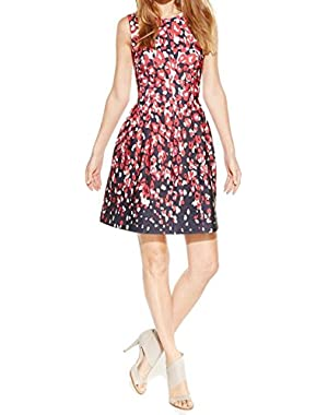 Womens Printed Sleeveless Scuba Dress