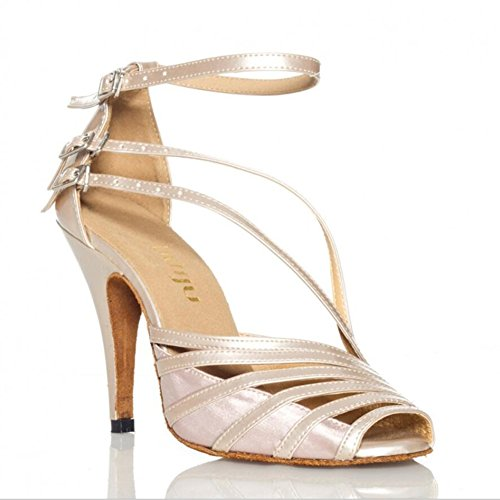 XUE Zapatos latinos/Salsa para mujer Zapatos para salón de baile Sandalia Zapatos de baile con tacón Stilettos Heel Fiesta y noche Negro, Gris, Tono de piel (Color : UN, tamaño : 34) Do