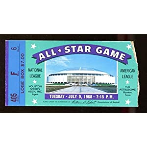 1968 MLB All Star Game Ticket 7/9 Houston Astrodome Willie Mays MVP 46224