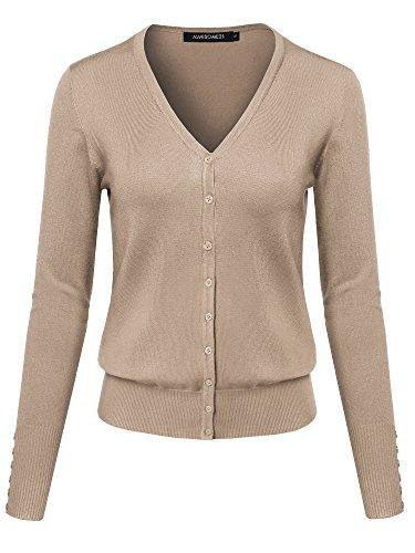 Basic Solid V-Neck Button Closure Long Sleeves Sweater Cardigan Mocha XL