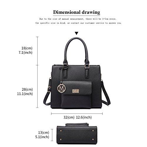 Women Faux Designer Ladies Lulu Leather Tote Black Handbags Miss 6635 Shoulder Bags Fw5fUqq