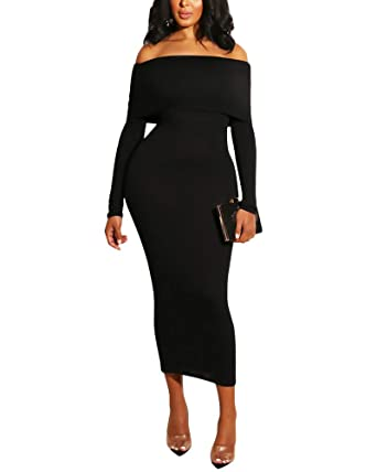 Aro Lora Womens Elegant Off Shoulder Long Sleeve Bodycon ...