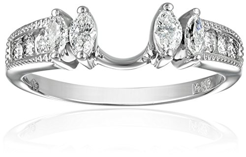 1/2 Ct Marquise Solitaire - 14k White Gold Round and Marquise Diamond Solitaire Engagement Ring Enhancer (1/2 carat, H-I Color, I1-I2 Clarity), Size 7