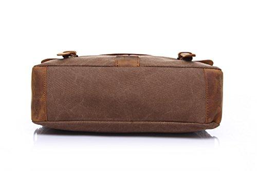 """Stepack marca Vintage Canvas de hombre de piel auténtica bolso de mano maletín para portátil de 14 """", 36 cm * 10 cm * 28 cm (L * W * H), caquI café"""