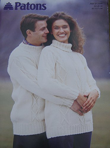 Patons HIS and Hers Sweaters Knitting Pattern in Aran Weight Yarn 32/34-44/46