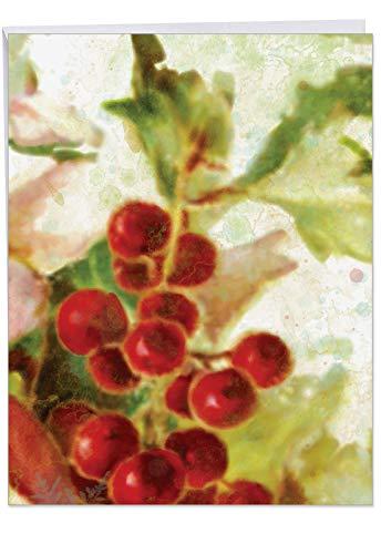 The Best Card Company XL Holly Days: Stylish Christmas Thank You Jumbo Printed Card, J6062GXTG 8.5
