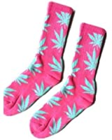 New Marijuana Weed Leaf Cotton High Socks Pink with blue Leaf