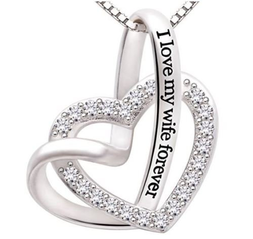 Valentine Day Jewelry 925 Sterling Silver Heart Pendant Necklace Women Fashion