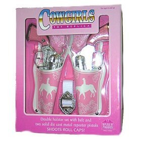 Cowgirl Set - Western Girl Double Pistol with Holster, Pink in Color, Shoots Roll Caps, Boxed