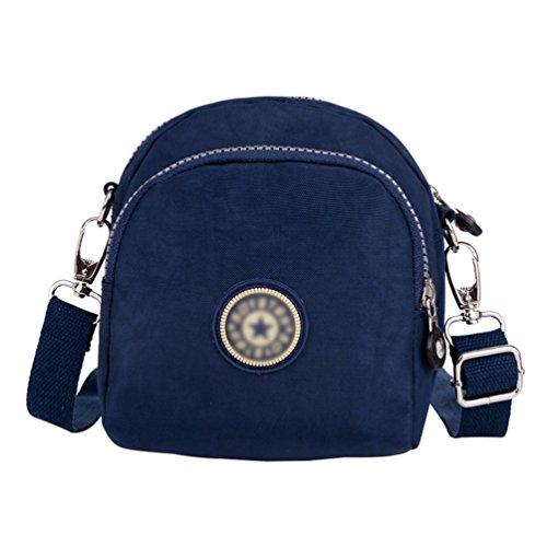 Bolsa Muchos Mensajero Casual Oscuro Bolsa de Hombro Mujer de Azul Impresión Yujeet Bolsillos Correa Viajes Ajustable Pxaq10