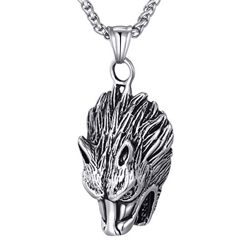 Moolee Men's Stainless Steel Pendant Necklace Gothic Robust Wolf Head Pendant with 24 Inches Link Chain