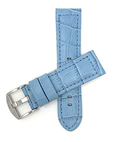 Bandini 20mm Mens Italian Leather Watch Band Strap - Light Blue - Alligator Pattern - Large Stainless Steel Buckle