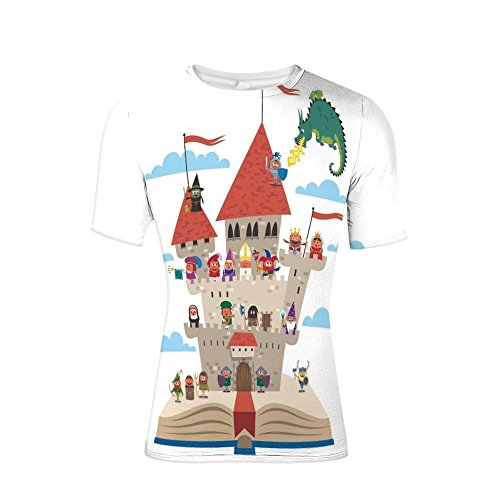 (T-Shirt for Men,Castle King Queen Princess Dragon Witch Knight Wizar,3D Print)