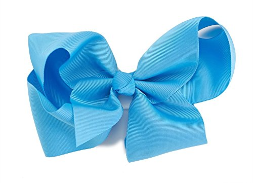 (Beautiful Handmade Variety of Bright Colors Grosgrain Ribbon Bows with Alligator Clip (Turquoise))