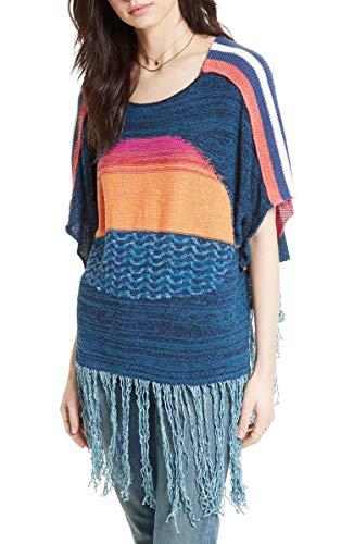 - Free People Women's Sunset Fringe Sweater Blue Combo Medium/Large