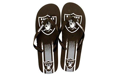 Pour Toujours Collectibles Pieds Heureux Hommes Et Femmes Sous Licence Officielle Grand Logo Flip Flops Oakland Raiders