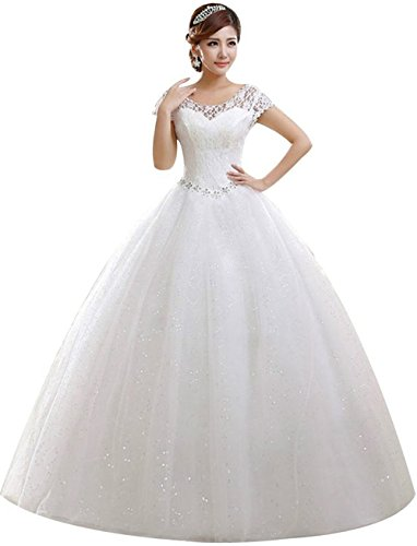 2017 obqoo Elegant Jewel Scoop Capped Lace Beaded Ball Gown Wedding Dress Ivory