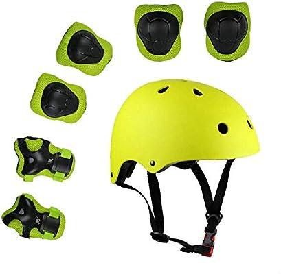CoKu Juego de Equipo de Protección para Niños, Ajustable Casco de Bicicleta para Niños Rodilleras Codos Cojines de Muñeca Cojín de Patinaje sobre Ruedas(Amarillo): Amazon.es: Deportes y aire libre