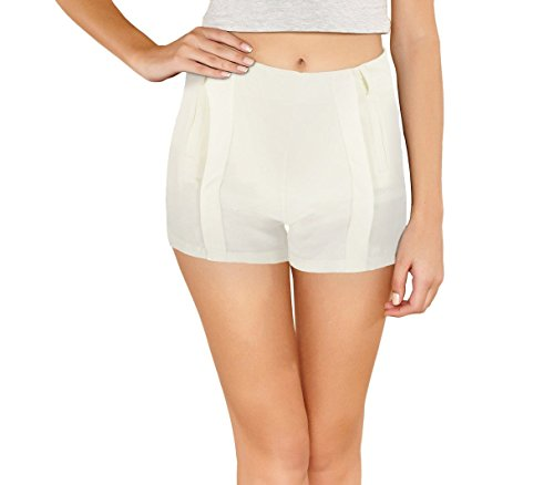 con morbido XL pantaloncino Nice donna F9337 elastico zip WAVE store MEDIA tessuto Shorts Bianco mod in 0xRP8qwfn