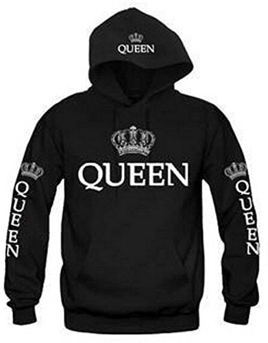 Fashion Long Sleeve King Queen Hoodies Sweatshirt Pullover with Hood, 1 Pcs (US L = Asia XXL, Queen-Black)