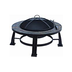 Firepits Fire Pit Sale Today! This Wood Burning Fire Pit Can Replace Gas Fire Pits Guarenteed. This 30″ Round Slate Fire Pit Design Is an Ideal Outdoor Backyard Patio Fire Pit Table. Fire Pit Accesories, Mesh Cover, Wood Grate and Poker Are Included. firepits