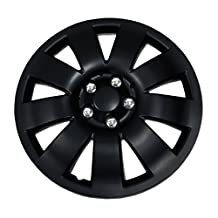 TuningPros WSC-721B16 Hubcaps Wheel Skin Cover 16-Inches Matte Black Set of 4