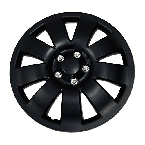 TuningPros WSC-721B17 Hubcaps Wheel Skin Cover 17-Inches Matte Black Set of 4 (Matte Rims Black)