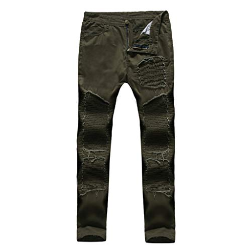 Men's Fashion Slim Holes Pleated Pocket Jeans Pants Long Pants Casual Pants, MmNote Army Green