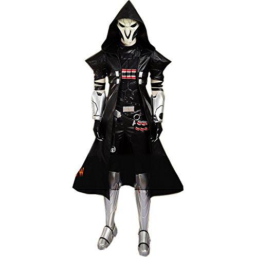 Adult Black Uniform Costume Full Set with Skull Mask Halloween Carnival ()