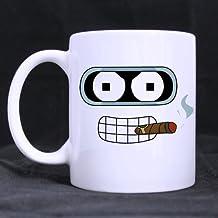 Refreshus Cool Smoking Bender Futurama Custom White Coffee Mug Tea Cup 11 OZ Office Home Cup