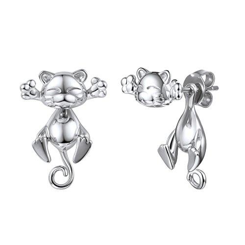 925 Silver Cute Cat Earrings Stud Solid Sterling Jewelry