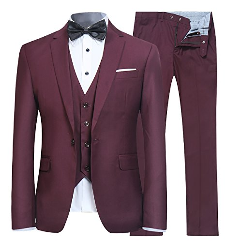 Men's Slim Fit 3 Piece Suit One Button Blazer Tux Vest & Trousers, Dark Red, X-Large