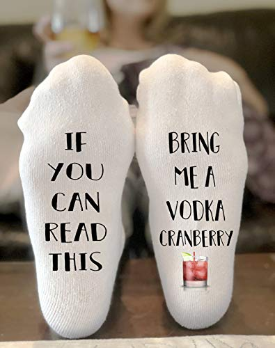 Cranberry Lovers Gift - If You Can Read This Bring Me A Vodka Cranberry Novelty Funky Crew Socks Men Women Christmas Gifts Cotton Slipper Socks