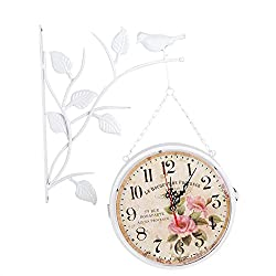 Wrought Iron Vintage Clock Double Sided Wall Clock Round Chandelier Wall Hanging Bird Metal Clock Home Hallway Decor(White )